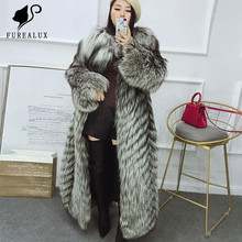 Top Quality Winter Full Pelt New Genuine Leather Jackets Russian Real Fur Silver Fox Coat Long Thick Warm Handmade Clothing