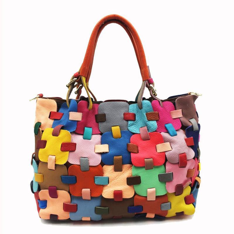 Vintage Cow Leather Women Large Bag 2020 New Colorful Patchwork Soft Cowhide Handbag Leisure Shoulder Messenger Bags