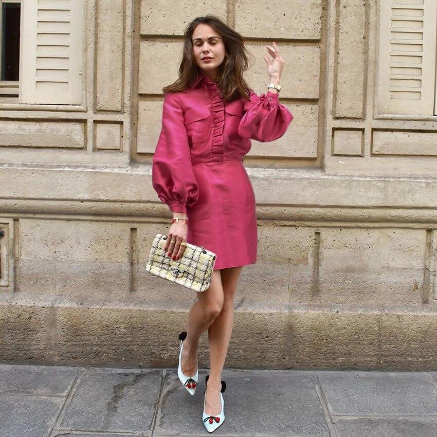 Mnealways18 Laterne Hülse Elegante Kleid Rosa Frauen Party Herbst Winter Kleid Rüschen Satin Damen Büro Kleider Kurze Mode