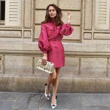 Mnealways18 manches latérales robe élégante rose femmes fête automne hiver robe volants Satin dames robes de bureau mode courte