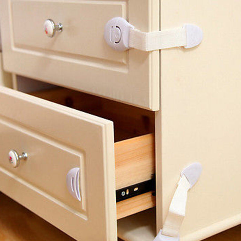 3 Piece Child Kids Care Safety Cabinet Locks Straps For Cabinet Drawer