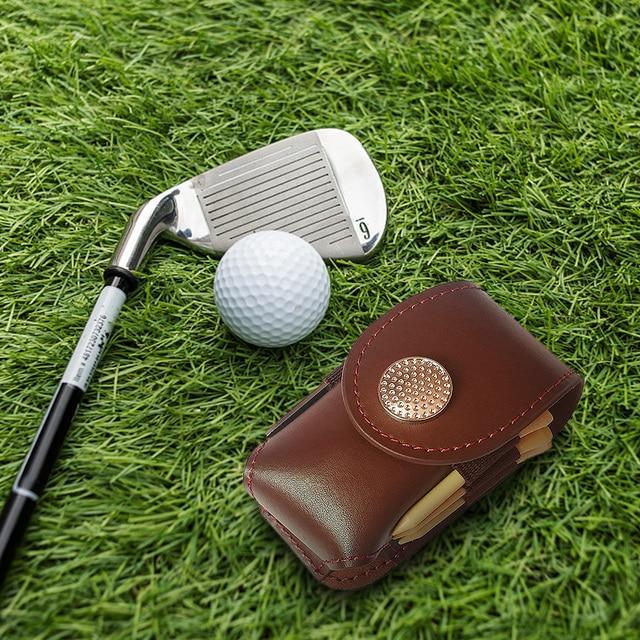 Outdoor Golf Ball Leather Bags Mini Pocket Golf Bag Holder with 2 Balls 3 Tees 1 Golf Divot Repair Tool Set Golf Equipment 5