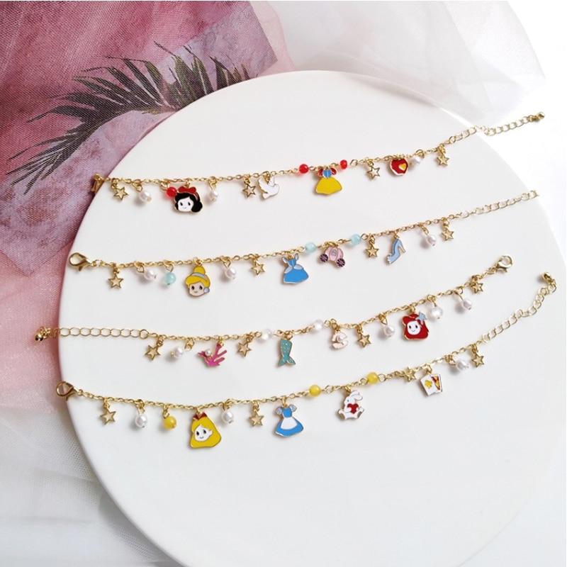Милые японские браслеты Золушки из мультфильма «Русалочка», «Белоснежка», «Алиса в Wonderland», сказочные браслеты для женщин и девочек