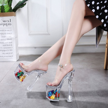 18/20CM Transparent Heels Platform Shoes for Women Sandals High Heels Big Size 43 Summer Shoe Woman Sandal Clear Heels image