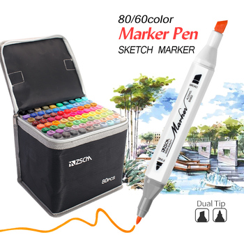 12/24/36/48/60/80 Colored Alcohol Markers Sketch Marker Dual Head Brush Drawing Marker Pens Manga Art Markers Art Supplies 1pcs colored art markers dual brush marker pen drawing pen manga marker design pens art painting pens school stationery 96 color
