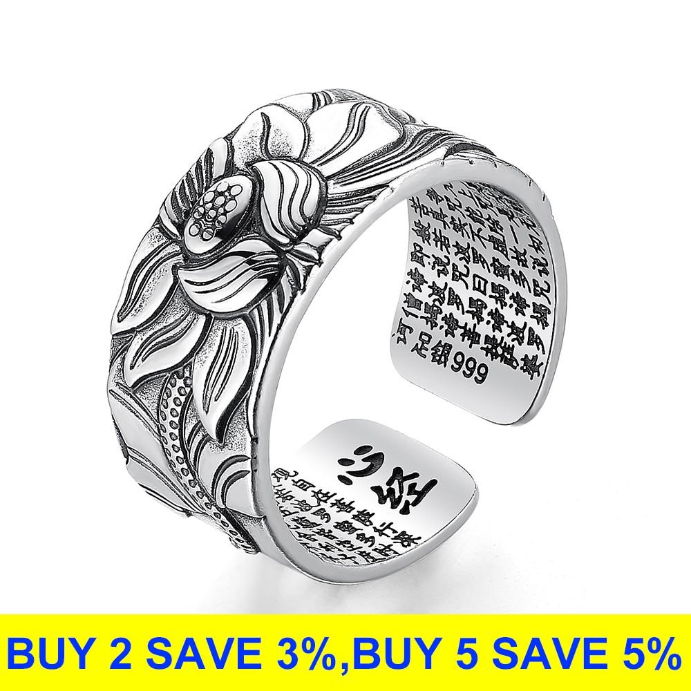 Silver Lotus Flower Open Ring Jewelry Rings Women Jewelry