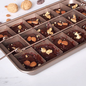 Image 3 - Профессиональная форма для выпечки шоколадных тортов, квадратная форма из углеродистой стали 18 полости, инструменты для выпечки, Легкая очистка, сковорода для выпечки коричневого пирога