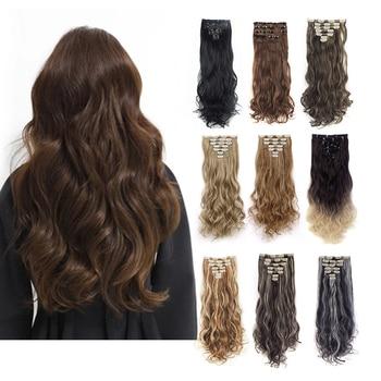 7 Uds 16 Clips 22 pulgadas largo suave sedoso rizado/ondulado Full Head Clip In on extensiones de cabello de doble trama, Clips en extensiones de cabello