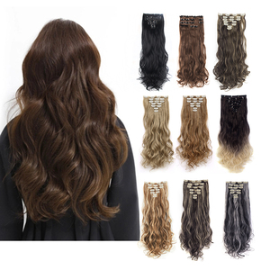 7Pcs 16 Clips 24 Inch Long Soft Silky Curly/Wavy Full Head Clip In on Double Weft Hair Extensions,Clips In Hair Extensions