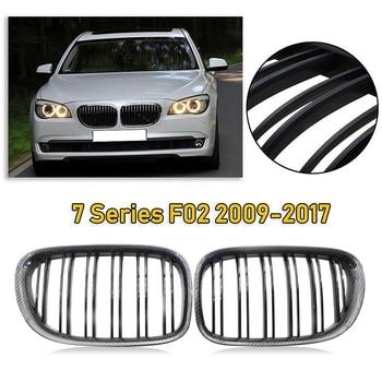 2X Glossy Black Carbon Fiber Front Kidney Grille Double Line Hood Grills For-BMW F02 F01 730 740 750 760 745LI 2009-2017