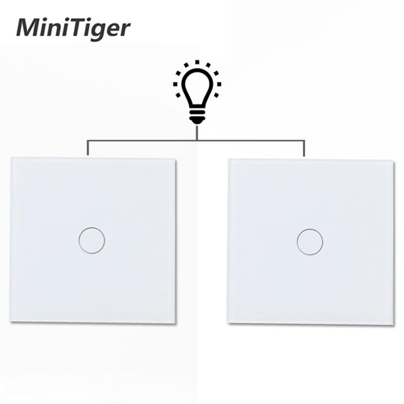 Minitiger EU Standard Luxury Glass Crystal Panel 1 Gang 2 Way Light Wall Touch Switch Waterproof And Fireproof