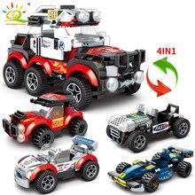 HUIQIBAO-coche de competición en carretera 4 en 1, 365 Uds., bloques de construcción, ciudad, coche deportivo, carreras, figuras, bloques, juguetes para niños