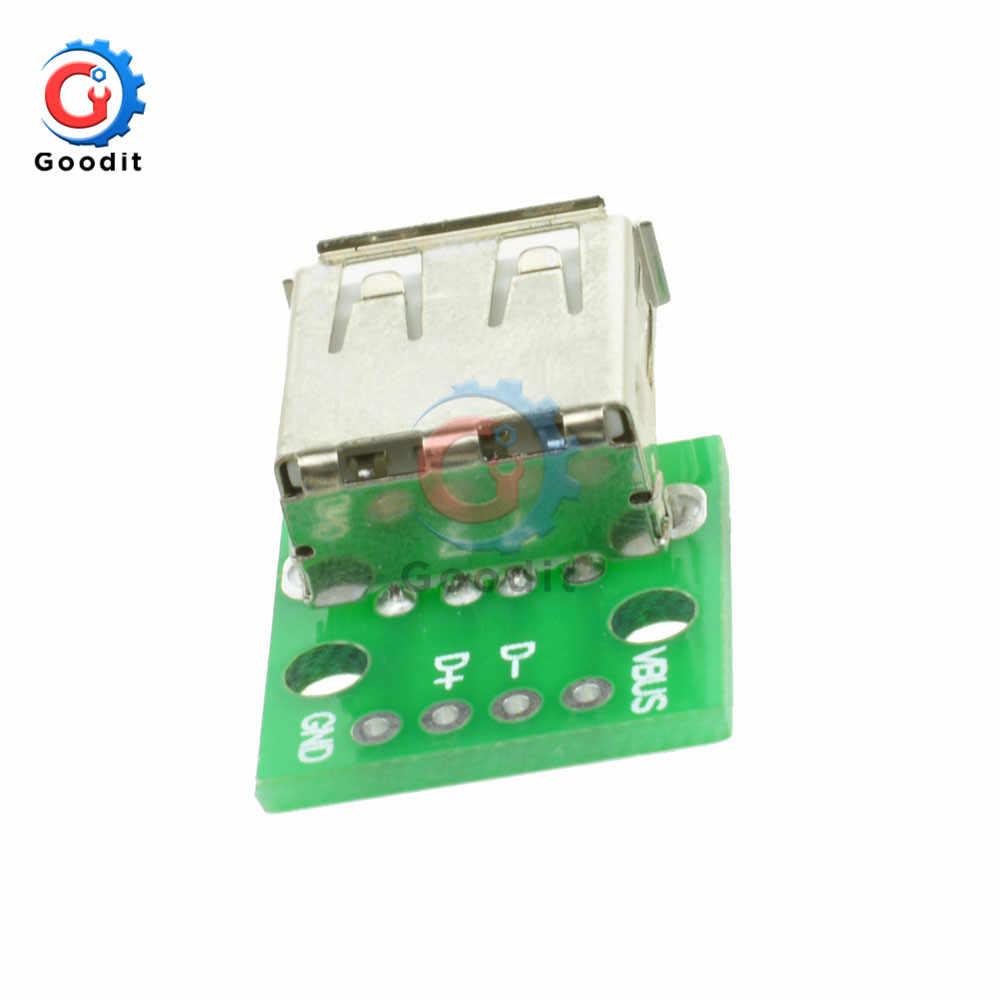 1 cái Loại MỘT Nữ USB Để CHẤM 2.54MM PCB Board Adapter Chuyển Đổi Bo Mạch Cho Arduino Cổng kết nối USB 2 công tắc Ban