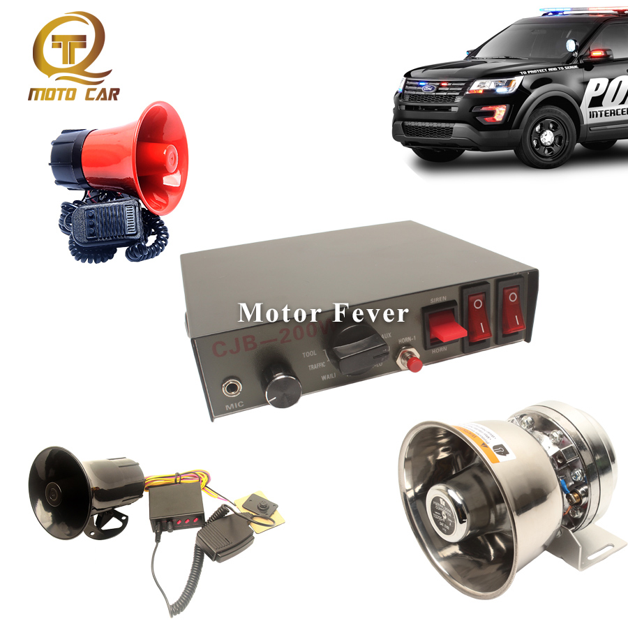 Evrensel 12V araba kornası alarmı polis Siren uyarı ses 200W 100W hoparlör Tone megafon araç elektrikli boynuz PA mikrofon sistemi