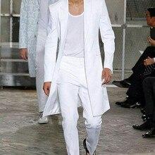 Новинка, белый длинный пиджак, мужские костюмы, брюки, смокинг для жениха на свадьбу, смокинг, пиджак, 2 предмета, для жениха, для выпускного вечера, вечерние, Terno Masculino