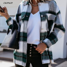 Shirts Collared-Tops Button-Up Long-Sleeve Plaid Loose Black White Autumn Winter Casual