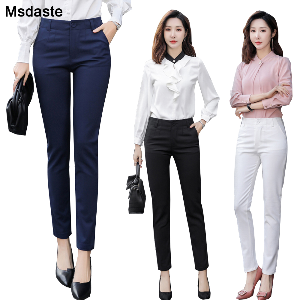 Pencil Pants Women 2020 Spring High Waist Female Formal Trousers Casual Pantalones Solid Workwear Stretchy Slim Woman Trousers