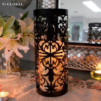Portavelas de mesa de hierro negro, Farol DE Metal, candelabro de cena...
