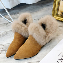 Pointed Toes Women Snow Boots 2019 Fluffy Womens Winter Elegant Slip On High Heels Sexy Fashion Fall