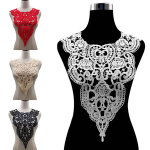 1pc High Quality Water-soluble Lace Fabric Brooch Woven Embroidery Collar Flower Hollow Collar DIY Applique Neckline for Sewing