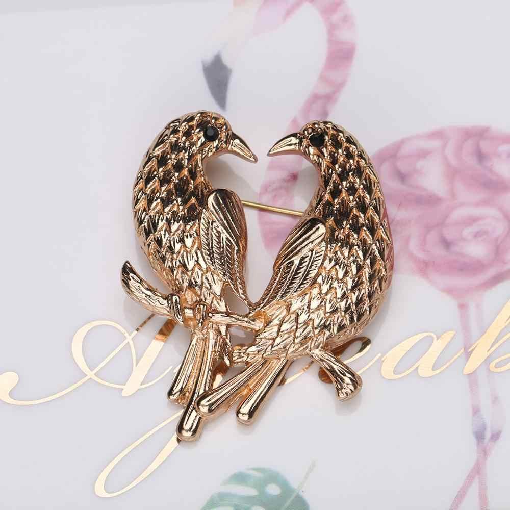 Broche de broche CARTER LISA Vintage hecho a mano con broche de oro rosa de aves para mujer, broche de Animal salvaje, broche de joyería de Navidad WBRA-007