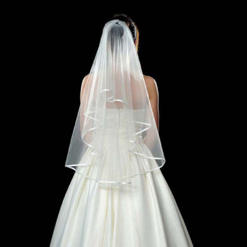 Lakshmigown Cheap Short Wedding Veils 1.5 M Ribbon Edge Two Layers White Mariage Bridal Veil With Comb Accessories 2019