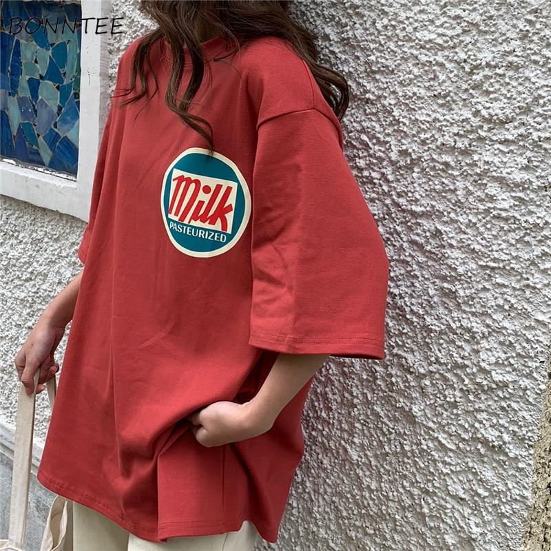 T-shirt kadın Harajuku süt baskılı Kawaii BF çift elbise Unisex gevşek uzun yaz Tee üst bayan gömlek kore tarzı moda