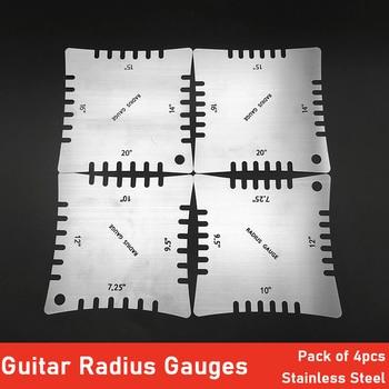 Calibres de radio con muescas para guitarra, para medir el radio de la diapasón, herramienta de reparación de Guita para Luthier, paquete de 4 Uds.