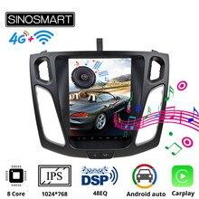 Sinosmart styl Tesla pionowa nawigacja samochodowa GPS Multimedia dla Ford Focus 3 MK 3 2012,2013,2014,2015,2016 2017 2018 2019 ekran IPS 9.7'