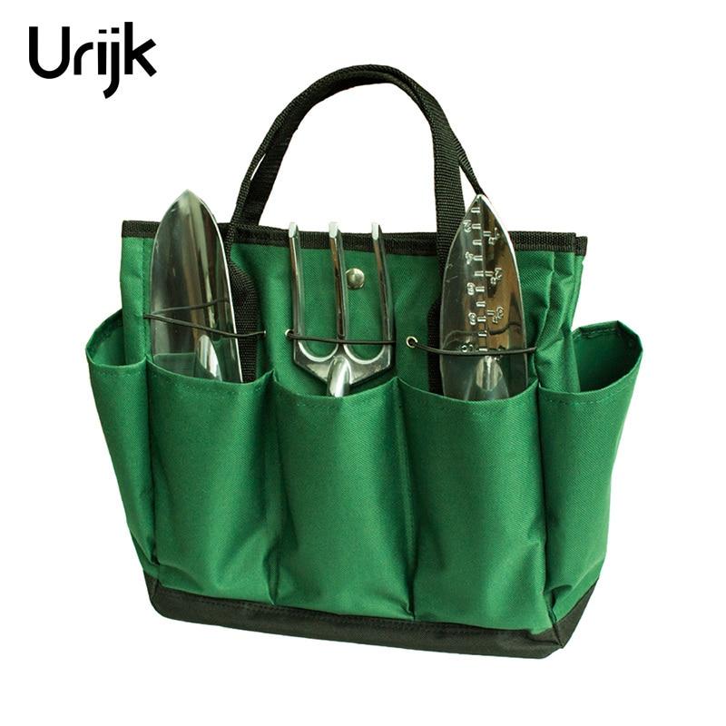 Urijk 1PC Dark Green 600D Oxford Gardening Tool Bag Electrical Bag Handbag Tools Excluded 34.3*17.2*30.5 Cm