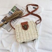2019 New Hand-woven Square Straw Handbag Female Summer Rattan Bag Mini Bohemia Beach Crossbody BagsTravel Sac