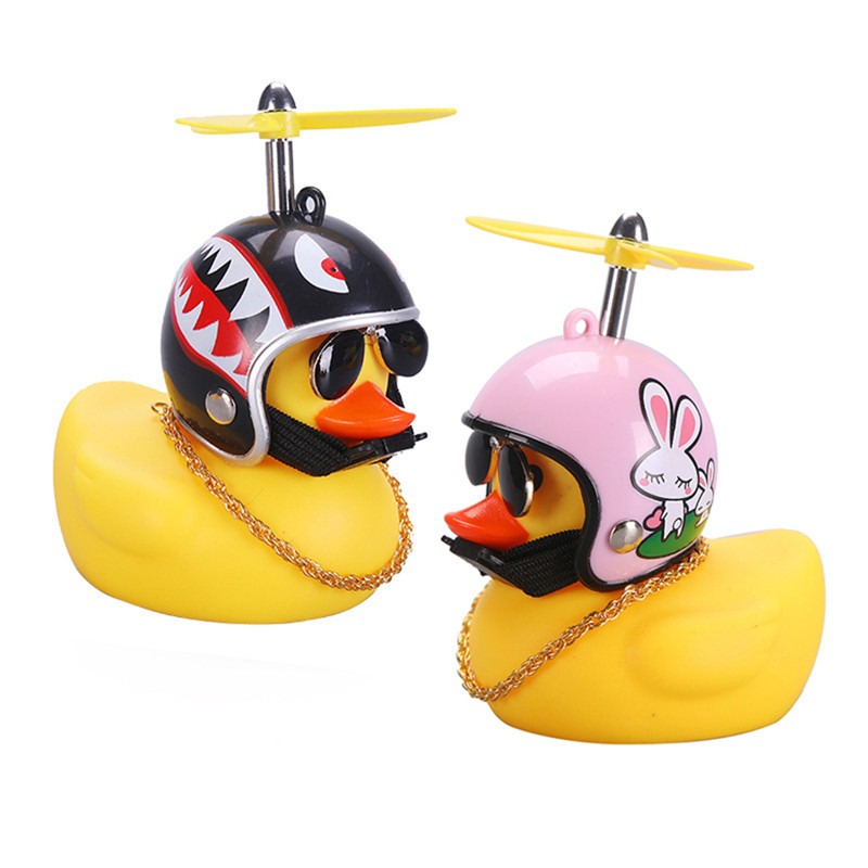 Car Duck with Helmet Broken Wind Small Yellow Duck for car