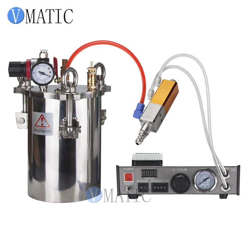 Free Shipping Automatic Dispensing Suction Valve Glue Dispenser Controller Equipment With Stainless Steel Pressure Tank 1L