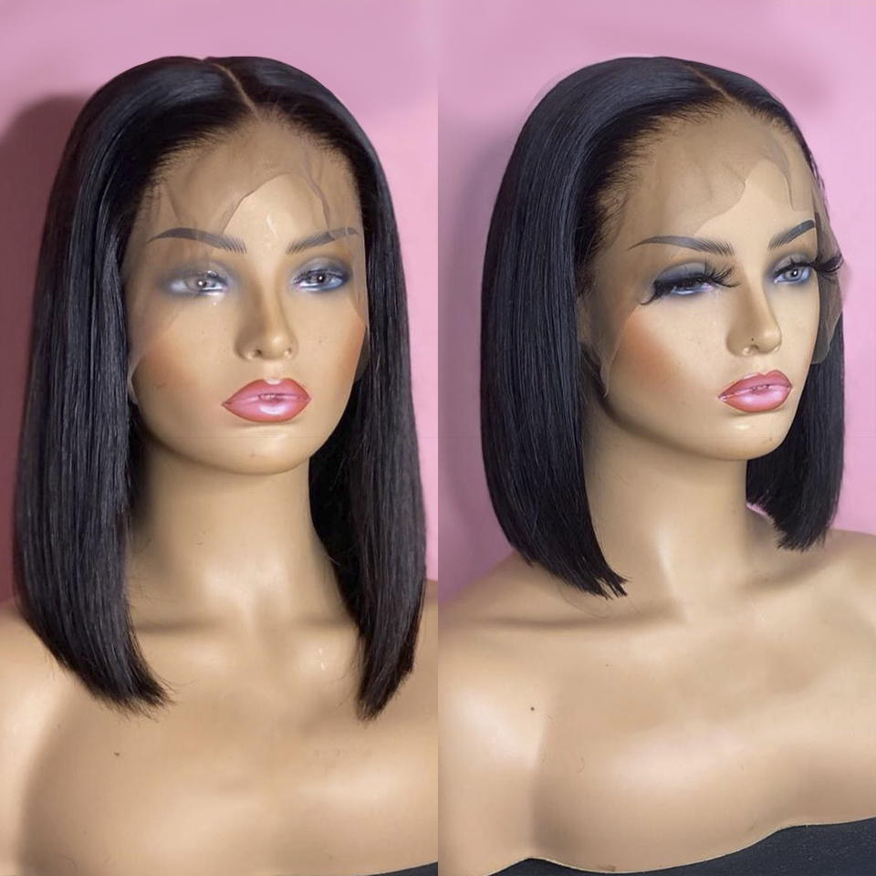 Glueless Bob Wig Brazilian Straight Short Lace Front Human Hair Wigs For Black Women Pre Plucked With Baby Hair Remy Hair Wigs