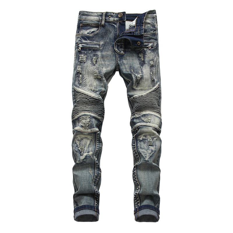 Sokotoo Men's Holes Patchwork Retro Blue Biker Jeans For Motorcycle Slim Straight Ripped Stretch Denim Pants