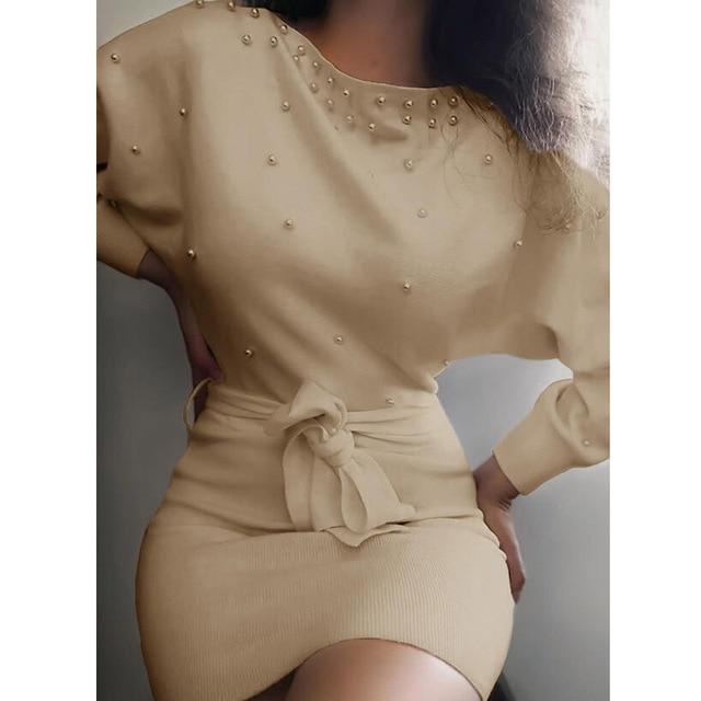 Spring Elegant Beading Party Dress Casual Long Sleeve Lace-Up Belt Bodycon Dresses Women Solid Vintage O-Neck Slim Autumn Dress 3