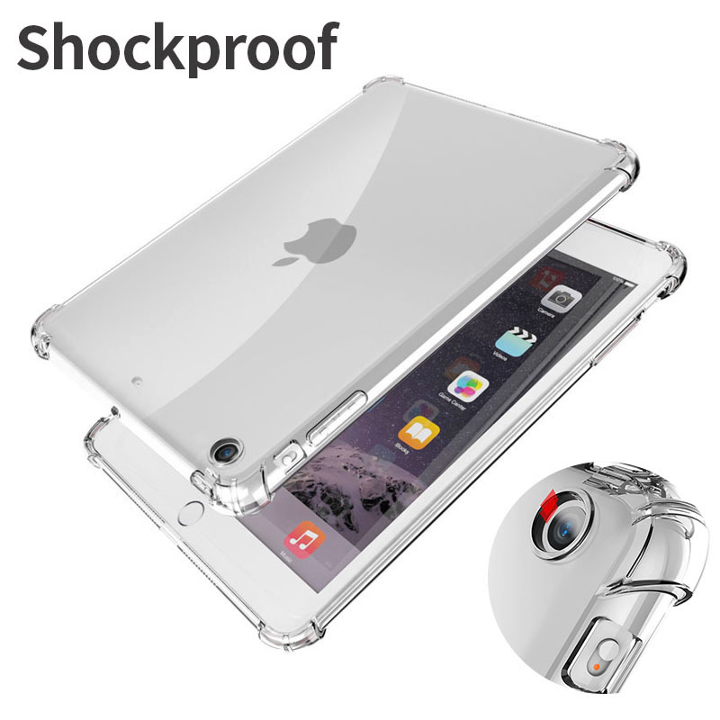 Shockproof Silicone Case For IPad Mini Air Pro 1 2 3 4 5 6 7 7.9 9.7 10.2 10.5 11 Flexible Bumper Clear Transparent Back Cover