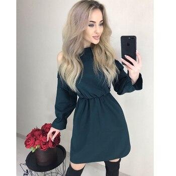 2019 Autumn Women Solid Ruffle Mini Dress Sexy Off Shoulder Long Sleeve Elastic Waist Dress Women Casual A Line Party Dresses 3