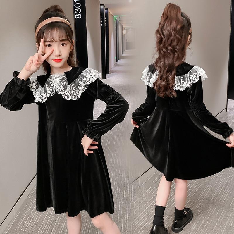 Robes dautomne et dhiver pour filles, robe princesse en dentelle à manches longues en velours doré pour enfants de 4 6 8 9 10 et 12 ans