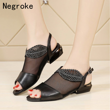 New Woman Sandals Cut Out Diamond Women Summer Shoes Black White Leather Backsling Low Heel