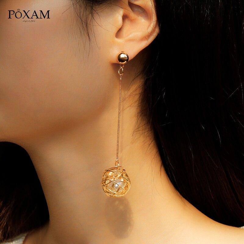 Gold Vine Ball Earrings Pearl Dangle Drop Earrings For Women Big Geometric Round Earrings 2019 Kolczyk Female Fashion Jewelry