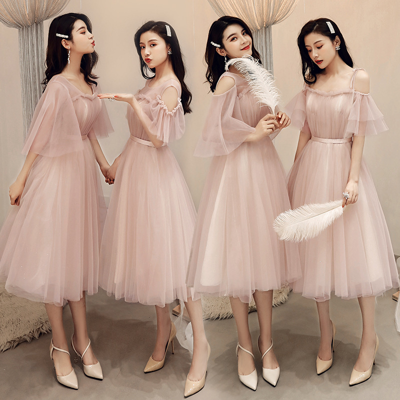 Bridesmaid Clothing Women's 2019 New Style Elegant Bridesmaid Mission Formal Dress Rosy Brown Sisters Small Dress Mid-length Fai