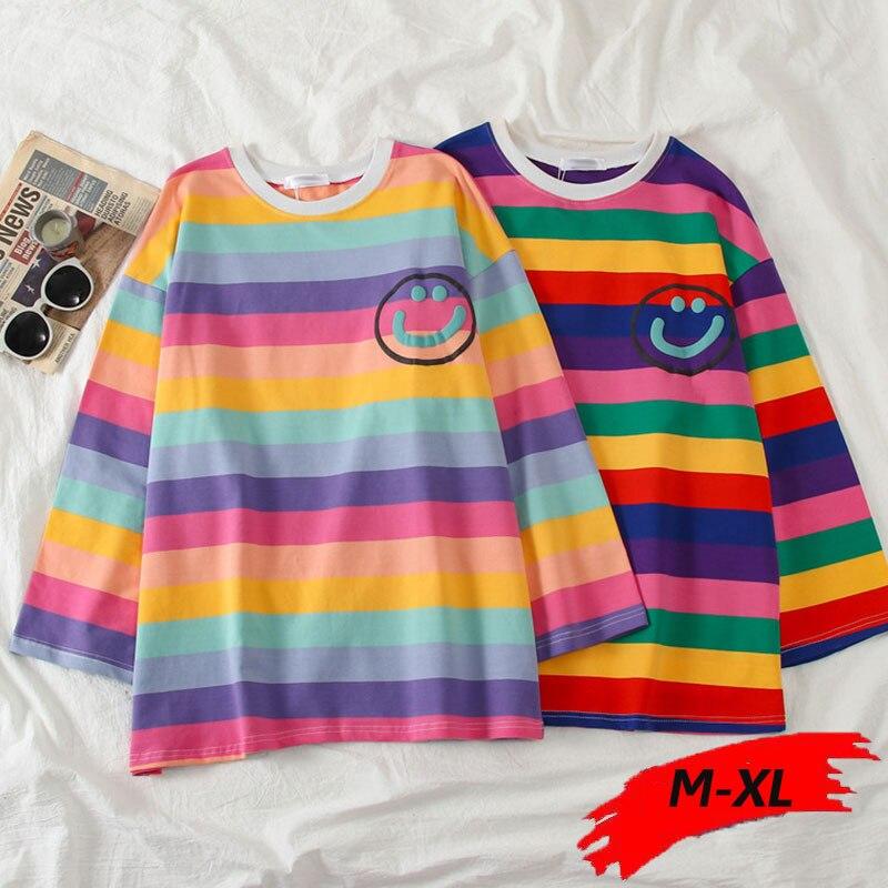 rainbow womens t-shirt long sleeve t shirt women funny shirts stripe fall Korean cotton girls casual loose oversize