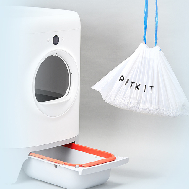 Poop Bag For Automatic Self Cleaning Cat Toilet Tray Box 2 Rollers Bags with Handle Hand Free Litter Box Pan 1