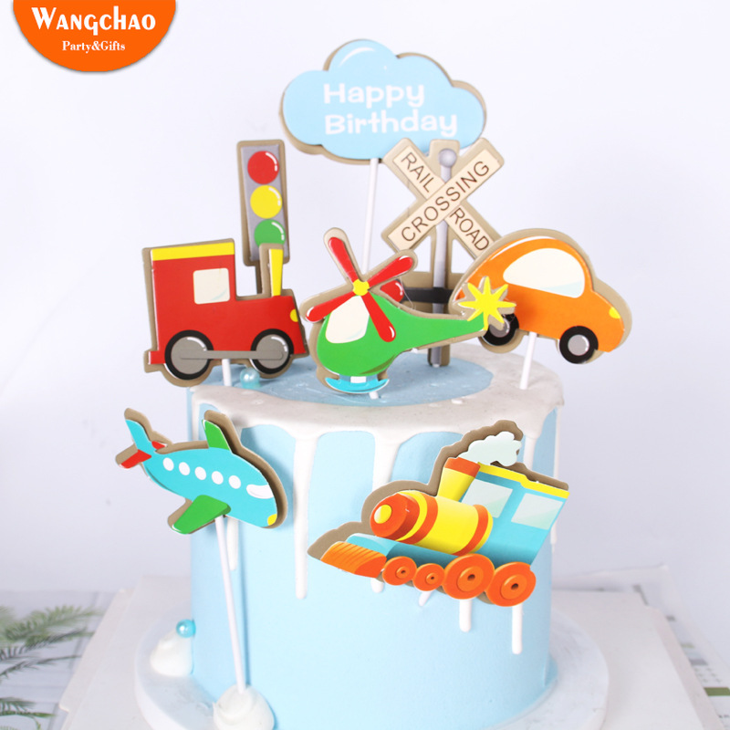 Traffic Lights Locomotive Airplane Cake Decoration Rail Road Crossing Cake Topper Kids Happy Birthday Party Supplies