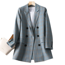 Stylish Plaid Ladies Blazer Gray Loose Casual Simple Vintage Suit Jacket Chamaras Mujer Spring Korean Women Blazer New MM60NXZ