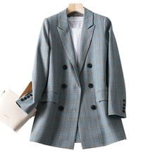 Stylish Plaid Ladies Blazer Gray Loose Casual Simple Vintage Suit Jacket Chamaras Mujer Spring Korean Women Blazer New MM60NXZ