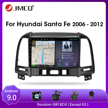 JMCQ For Hyundai Santa Fe 2006-2012 Android 9.0 Car Radio Multimedia Video Player Multimedia Audio Player 2 Din Split Screen RDS image