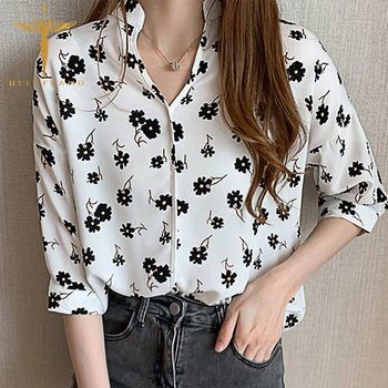 Cotton Half Sleeve Stand Neck Women Shirt Black Floral Print Loose Casual Blouse Korean Streetwear Stitching Thin Female Blouse vintage floral print v neck half sleeve blouse for women