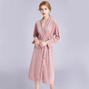 Image 3 - Sonbahar yeni kadın kadife elbise gelinlik pijama nakış gelinlik hırka elbise nedime gecelik pijama